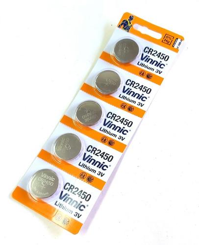 5x pilas cr2450 vinnic 3v sensor alarma reloj llaves blister