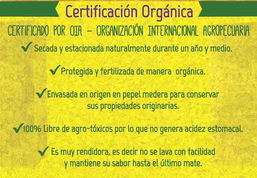 5x yerba mate orgánica anna park 1/2 kg. cert. internacional