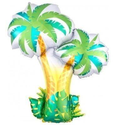6 animales de la selva + 2 palmeras (8 globos total) metaliz