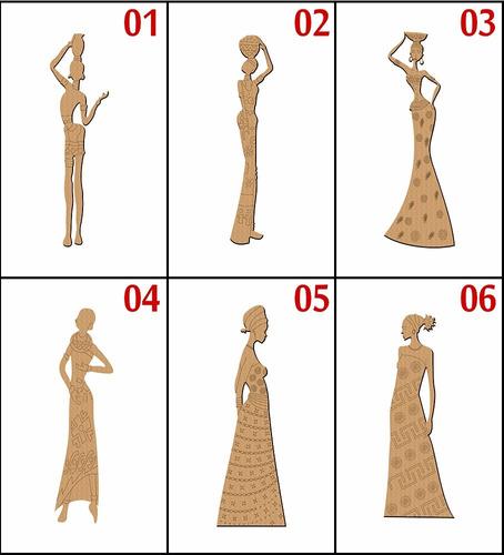 6 aplique africana mdf crú artesanato 40 cm de altura afro