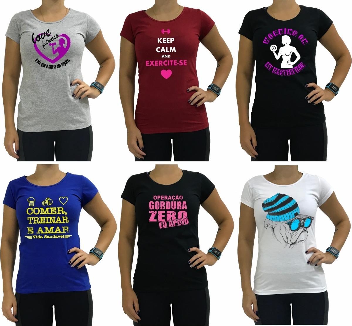 6 babylook feminina blusa camiseta academia blusinha camisa. Carregando  zoom. 38122c46f8af6