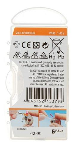 6 bateria para audifonos para sordos duracell no 13 md pr48