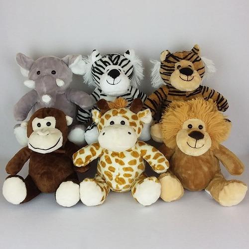 6 bichinhos de pelúcia safari - 23cm sentados