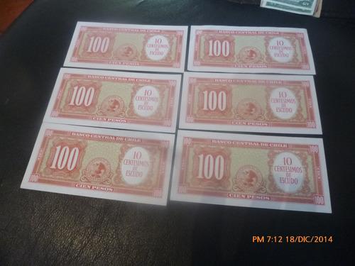 6 billetes chile 100 pesos correlativos remarcados (c-47-6