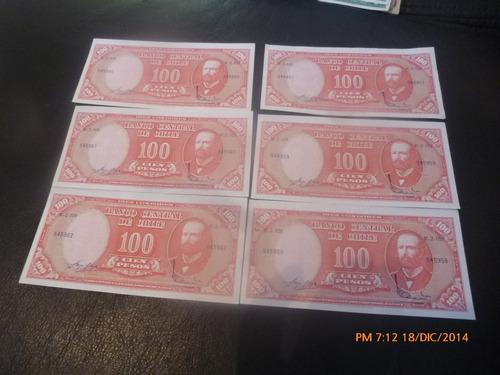 6 billetes chile 100 pesos correlativos remarcados (c-5-10