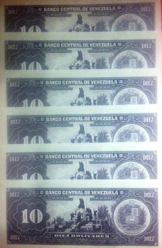 6 billetes de 10 bs. junio-05-1995. consecutivos. p8