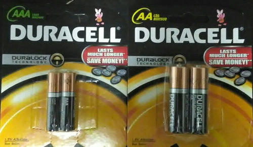 6 blister pilas batería aa aaa duracell 6$ mayor 0.83$