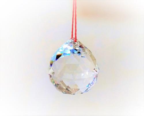 6 bolas esfera cristal asfour feng shui 4,0 com fio vermelho
