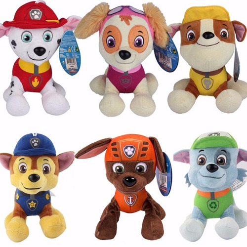 6 boneco pelúcia patrulha canina chase zuma skye + brinde