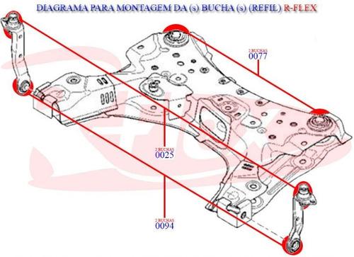 6 buchas traseira quadro motor braço dianteiro megane 07/...