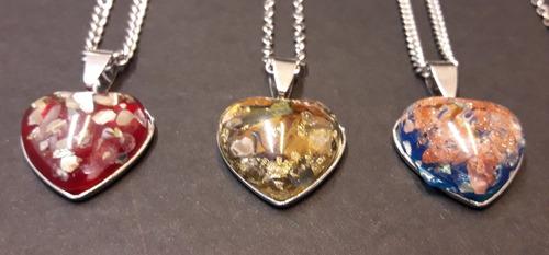 6 cadenas con dijes  piedra marmolada corazón acero x mayor