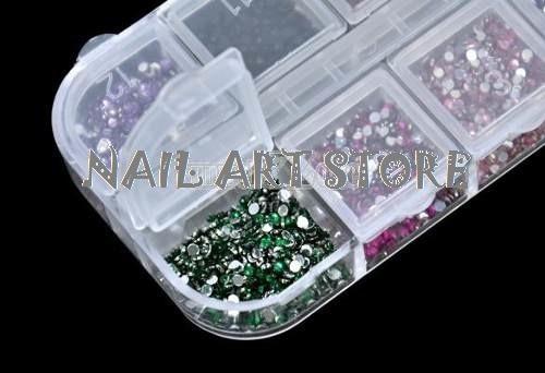 6 cajas de decoraciones de uñas + lápiz de cera + pegamento