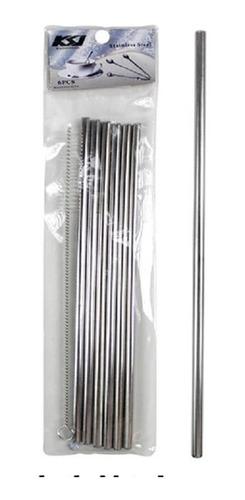 6 canudos reutilizável inox com escova de limpeza kit nfe