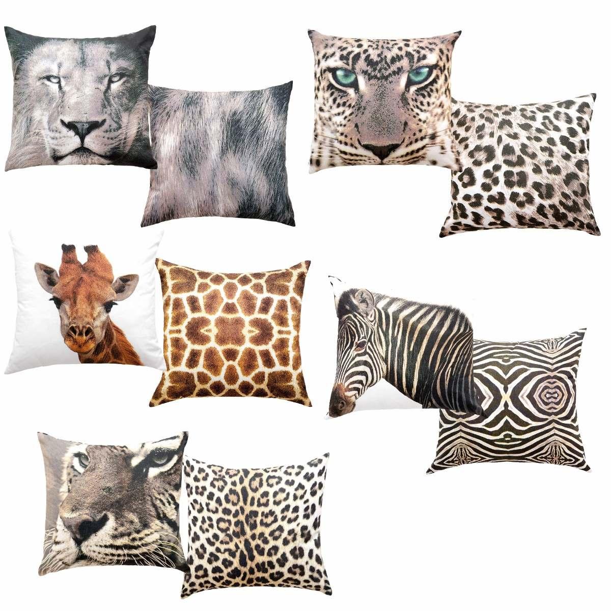 a12eb3c1ac3dbd 6 Capas Almofada Animal 2 Zebra 2 Leão 2 Onça - Kacyumara