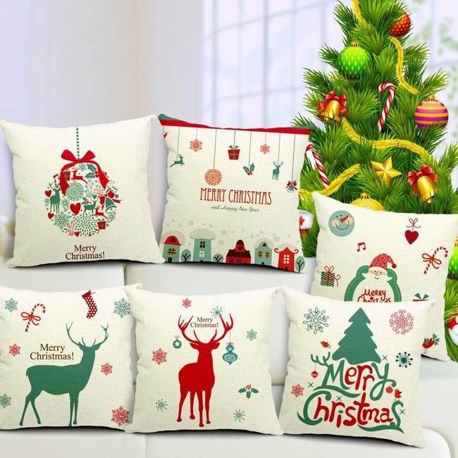 2be6846f410a45 6 Capas De Almofada De Natal Papai Noel 40x40 Frete Grátis