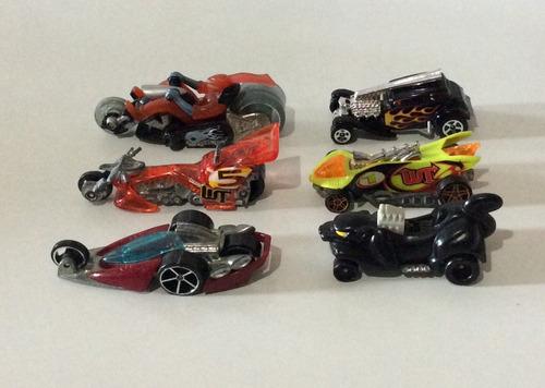 6 carritos y motos hot wheels, mattel