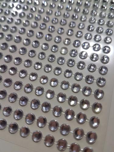 6 cartelas strass adesiva de 4mm prata - melhor preço