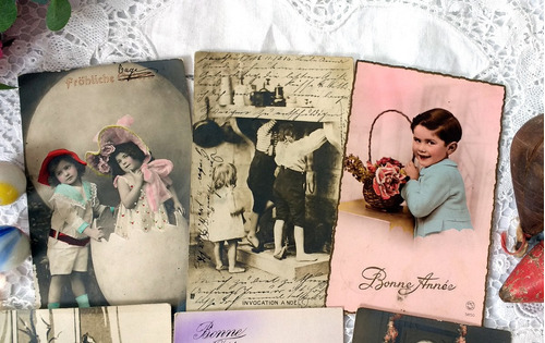 6 cartões postais antigos frança alemanha crianças