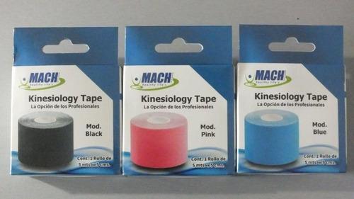 6 cintas kinesiologica mach negro