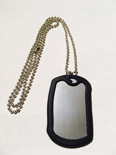 6 collares con placas tipo militar grabar identificacion