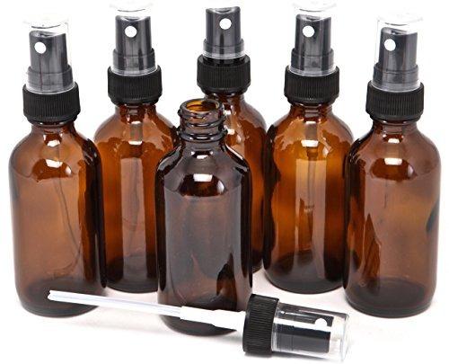 6, color ámbar, botellas de vidrio 2 oz, con aspersores de