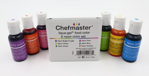 6 colorantes neon para pasteleria en gel chefmaster 70g