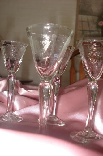 6 copitas de cristal tallado artesanal muy antiguas