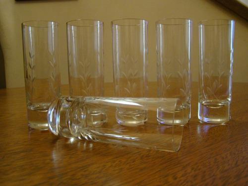 6 copos em cristal hering para vodka da década de 50 natal