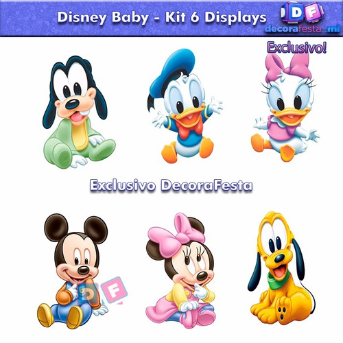 6 disney baby mickey minnie display mesa decoração festa mdf