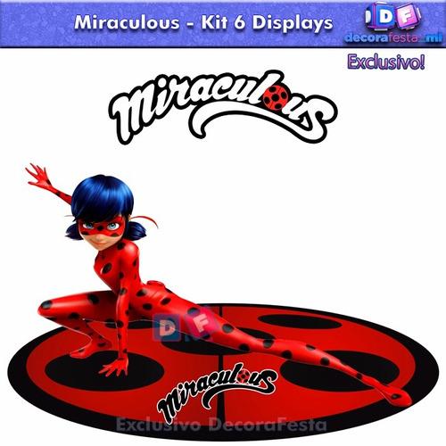 6 displays mesa miraculous ladybug 22cm festa infantil mdf