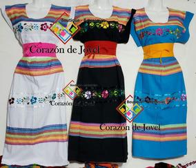 b0177dfc0 Elegantes Vestidos Artesanales Bordados De Flores De Chiapas