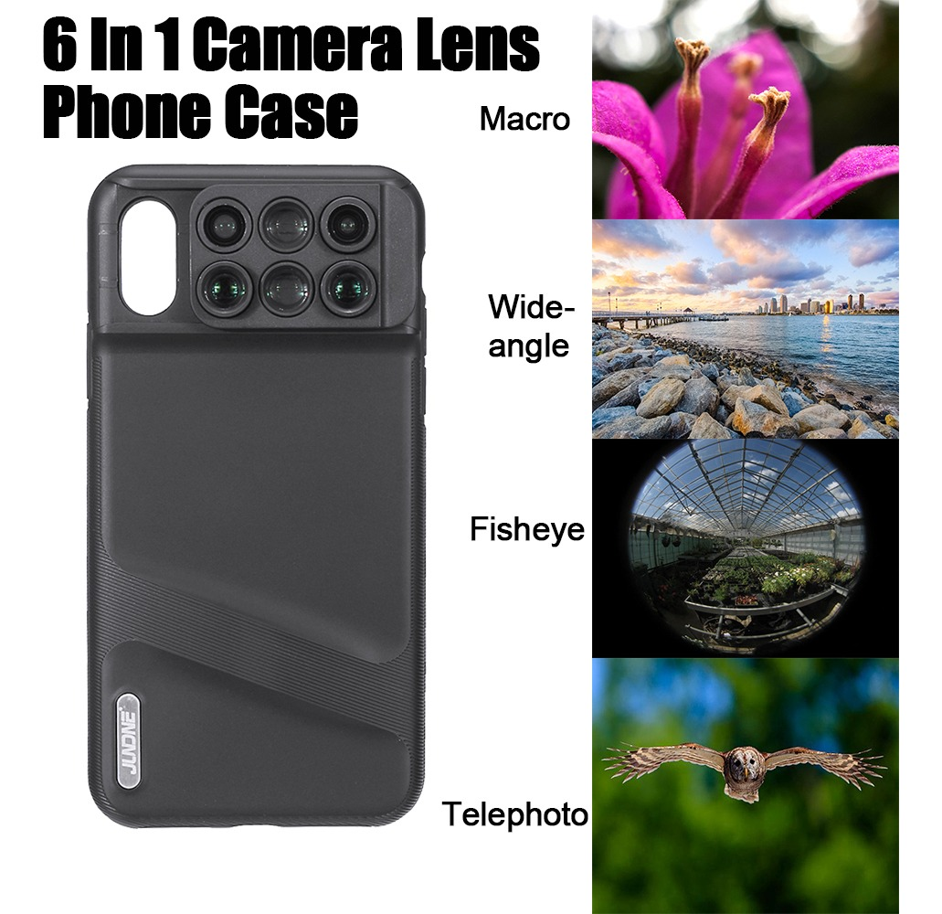 6 Em 1 Olho De Peixe Grande Angular Macro Câmera Len Capa De