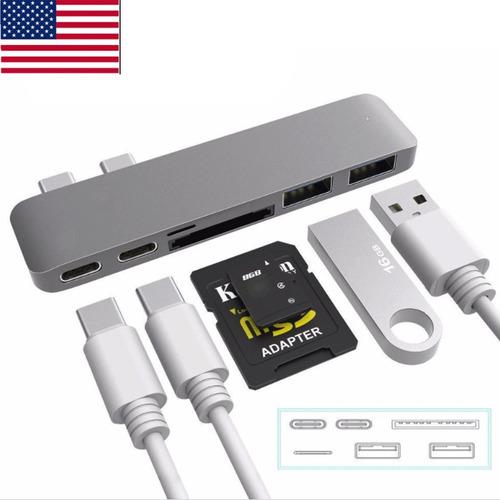 6 en 1 tipo c c usb hub adaptador doble usb 3.0 puerto thund