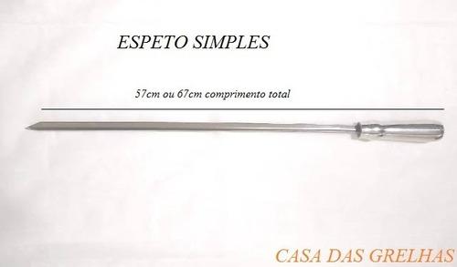 6 espetos inox cabo de alumínio 67cm ou 57cm - tipo espada