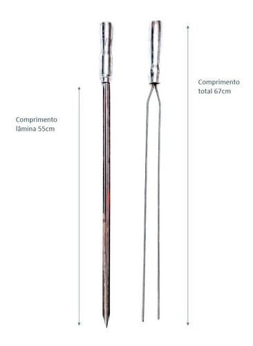 6 espetos inox cabo de alumínio 67cm  simples e duplo