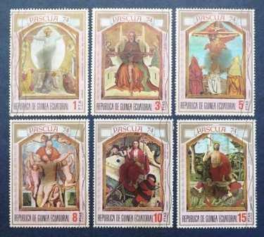 6 estampillas pascua 1974 guinea ecuatorial arte retablo pta