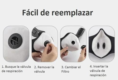 6 filtros carbón activo 5 capas kn95 pm2.5 máscara sport