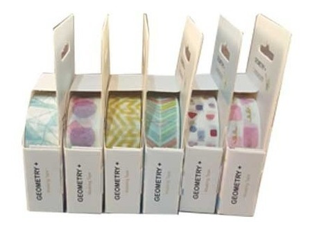 6 fitas washi tape adesiva decorativa artesanato geometriy