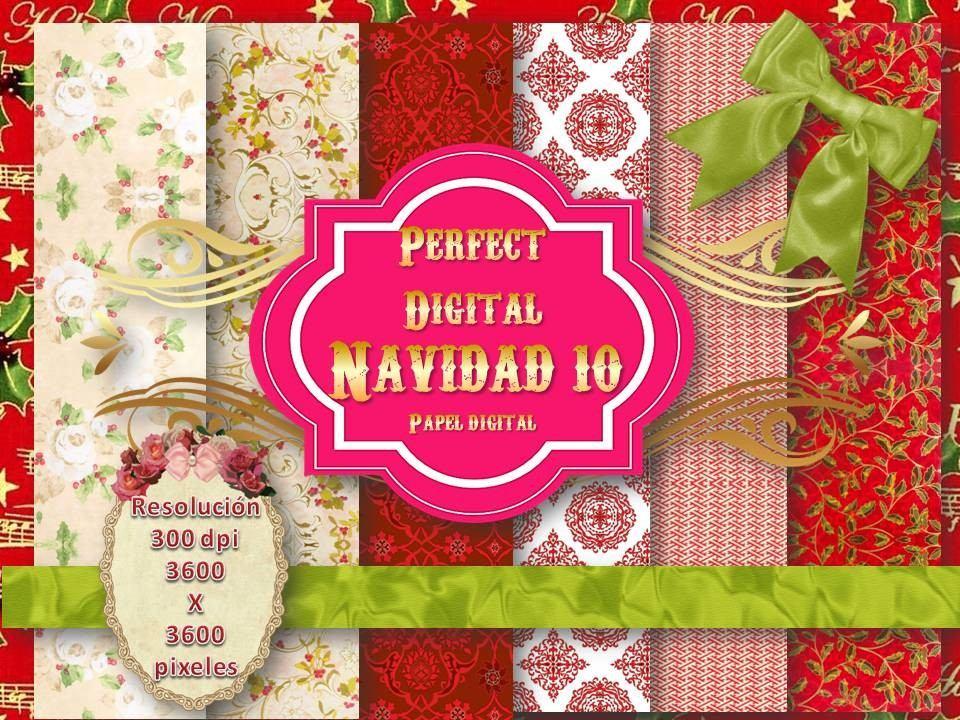 6 Fondos Papel Digital Navidad Scrapbook Diseño Tarjetas 2x1 - $ 74 ...