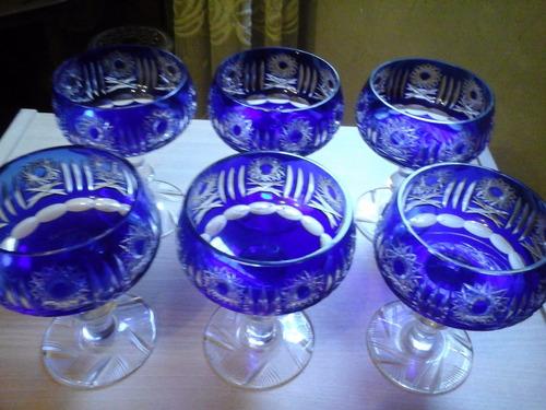 6 importantes copas cristal bohemia - exclusivas