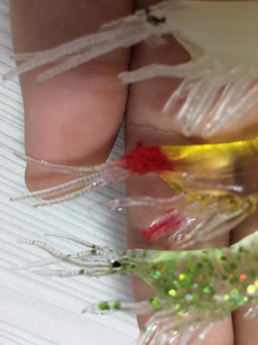 6 iscas artificiais macia grub lure camarão pitú p/ predador