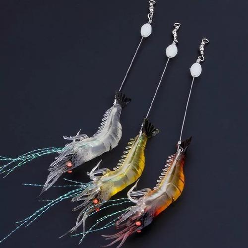 6 iscas camarão artificial com anzóis, castor e giratório