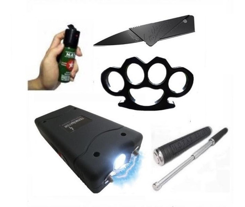 6 kit defensa personal taser + tambo + gas + manopla + navaj