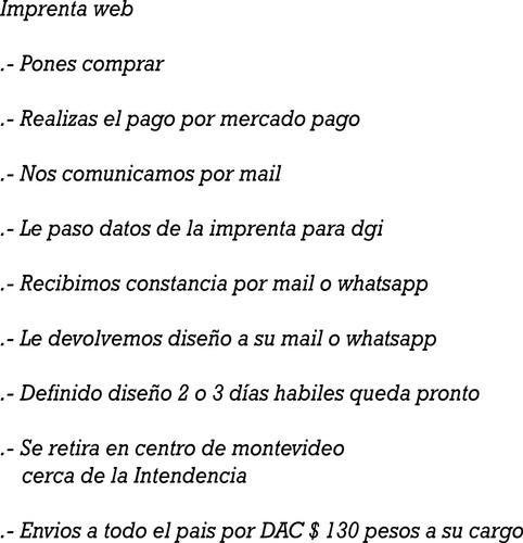6 libreta de facturas boletas imprenta autorizada por dgi