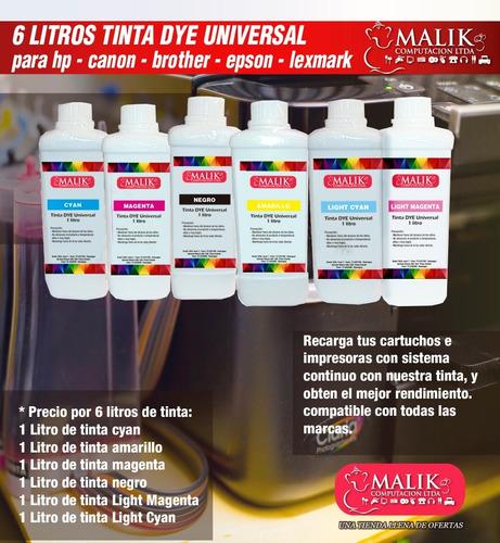 6 litros tinta universal para hp brother epson canon lexmark
