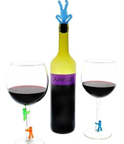 6 marcadores de taça de vinho + 1 tampa de garrafa de vinho