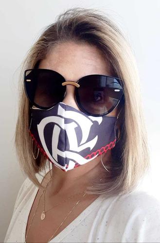 6 máscaras de proteção tema flamengo (3 camadas)