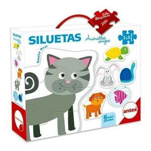 6 mini puzzles siluetas animalitos amigos antex 3028