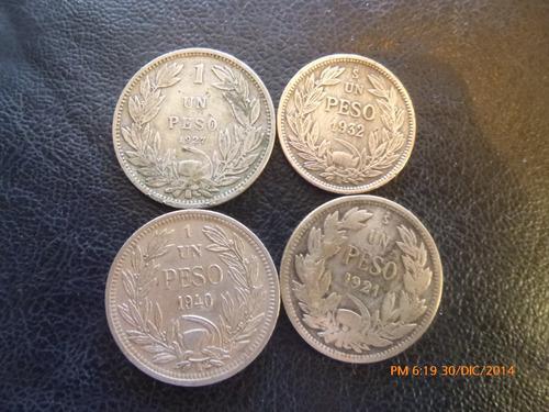 6  monedas chile    plata  distintas -1  niquel 1940
