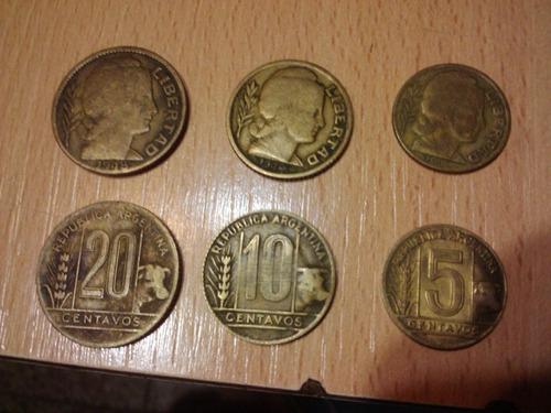 6 monedas de 5, 10 y 20 centavos antiguas nacionales